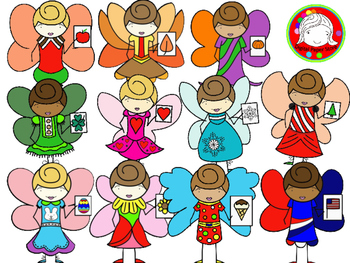 Whimsical Seasonal Fairy Clipart Set (Personal & Commercial Use)