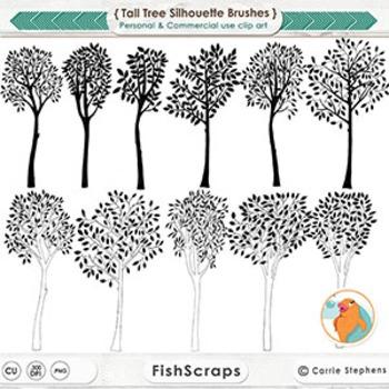 Whimsical Tall Tree Black Line, Tree Line Art Illustration