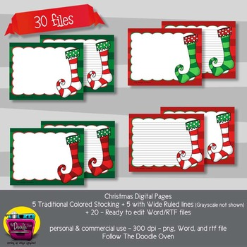 Christmas Stocking Digi papers - Lined and Unlined
