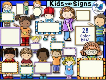 Whimsy Kids With Signs Clip Art (28 graphics) Whimsy Works