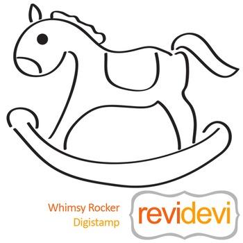Whimsy rocker (digital stamp, coloring image) S046, rocking horse