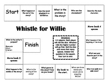 """""""Whistle For Willie"""" 1st grade Journeys Comprehension Game Board"""