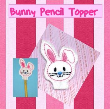 White Bunny Pencil Topper