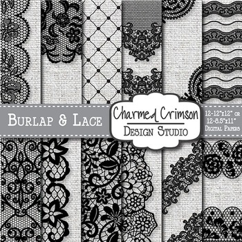 White Burlap and Black Lace Digital Paper 1468