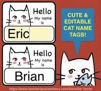 White Cat - FREE EDITABLE NAMETAGS