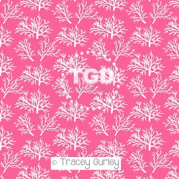 White Coral Pattern on Pink digital paper Printable Tracey
