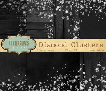White Diamonds - Glam Backgrounds, Digital Paper for Scrap