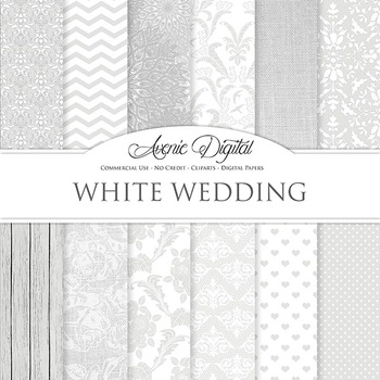 White Digital Paper patterns, save the date, bridal, lace