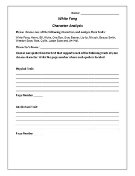 White Fang - Character Analysis Activity - Jack London