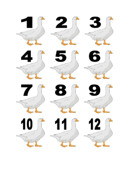 White Goose Numbers for Calendar or Math Activity