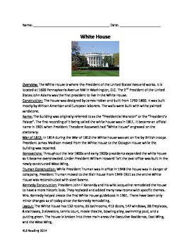 White House - Review article questions time line vocabular