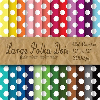White Polka Dots Digital Paper - 24 Different Papers - 12 x 12