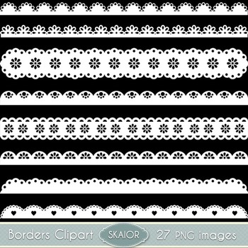 White Scalloped Borders Clipart Ribbons Text Dividers Lace