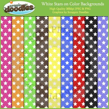 White Stars on Color Backgrounds