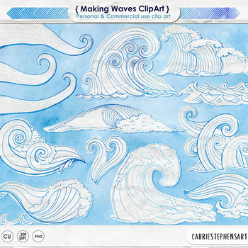 White Watercolor Wave Clip Art, Blue Outlines + Solid Whit