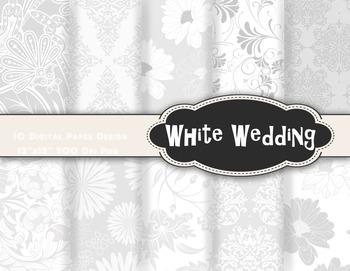White Wedding Damask Digital Paper Printable Paper White F