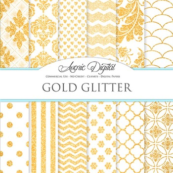 White and Gold Glitter Digital Paper sparkle pattern scrap