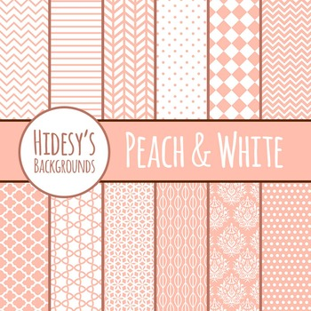 White and Peach Backgrounds / Digital Papers / Patterns Cl