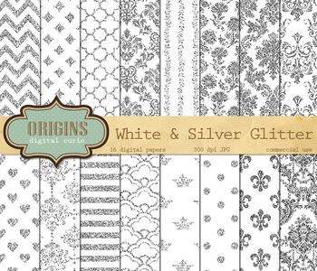 White and Silver Glitter Digital Paper, Textures, Backgrounds