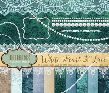 White pearls and lace digital scrapbooking kit, digital pa