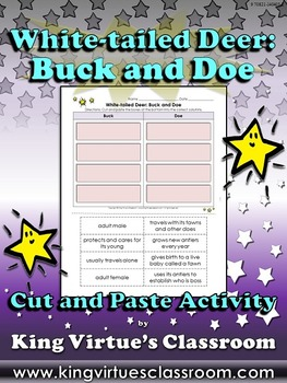 White-tailed Deer: Buck and Doe Cut and Paste Activity #1