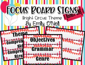 Focus Board Signs (Bright Circus Theme)