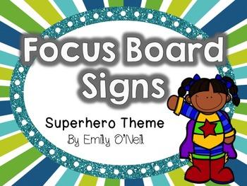 Focus Board Signs (Superhero Theme)