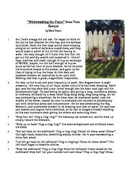 Whitewashing the Fence - Literary Text Test Prep