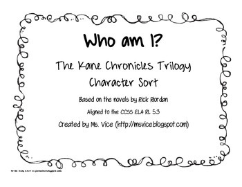 Who Am I? Character Analysis for the Kane Chronicles trilogy