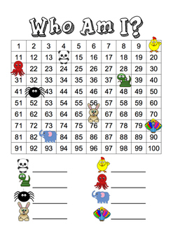 Who Am I? Hundreds Chart Activity