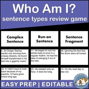 Who Am I? Sentence Types Activity