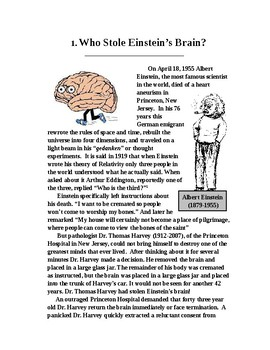 Who Stole Einstein's Brain? Science Literacy Article with