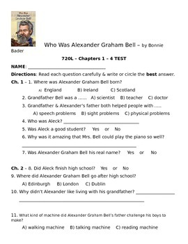 Who Was Alexander Graham Bell Chapters 1 - 4