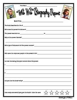 """""""Who Was... Book Series"""" Biography Report Form"""