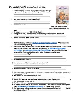 Who Was Mark Twain Worksheet