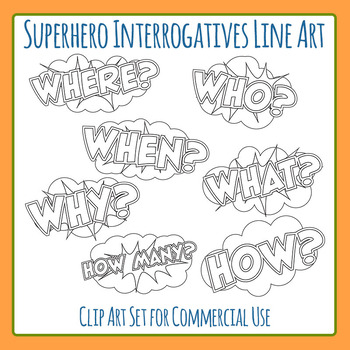 Who, What, Where, When, Why, Who, How Interrogatives Line