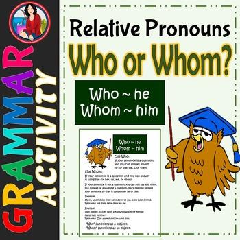 Who Whom Relative Pronouns Anchor Chart Center Activity Ta