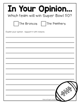 Who Will Win Super Bowl 50?  {An Opinion Writing Template}