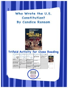 """""""Who Wrote the U.S. Constitution"""" Trifold Activity, Readin"""