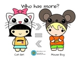 Who has more? Math center game for > =