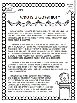 Who is a Governor? An Informational Comprehension Passage