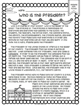 Who is the President? An Informational Reading Comprehensi