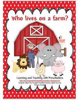 Who lives on a farm? Pocket Chart Activity