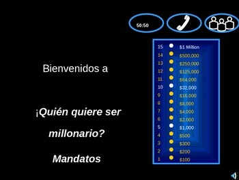 Who wants to be a Millionaire - Spanish commands (usted/us