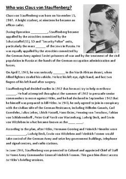 Who was Claus von Stauffenberg Cloze Activity