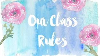 Whole Brain Class Rules in blue watercolor