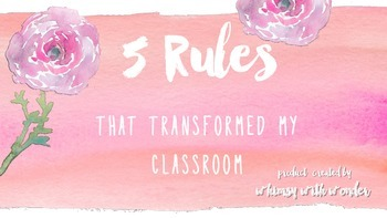 Whole Brain Class Rules in pink watercolor