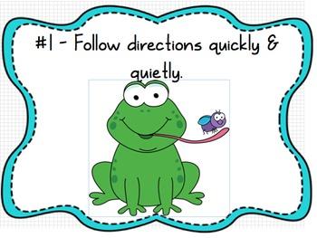 Whole Brain Classroom Rules Frog Theme (Editable)