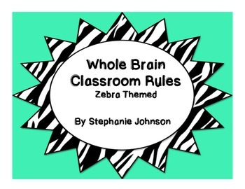 Whole Brain Classroom Rules-Zebra Themed (Green)