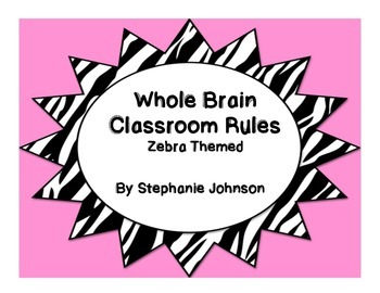 Whole Brain Classroom Rules-Zebra Themed (Pink)